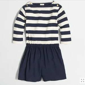 NWT Girls CrewCuts sailor-striped romper navy/wht